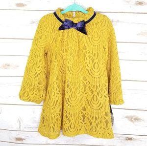 Genuine Kids mustard yellow lace dress / NWT